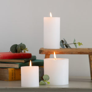 Rustic Pillar Candle White