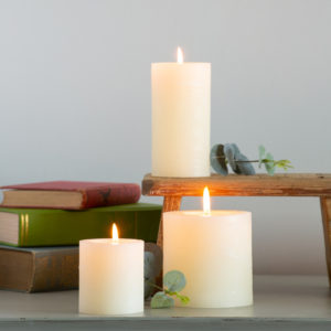 Rustic Pillar Candle Ivory