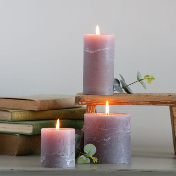 Rustic Pillar Candle Light Grey