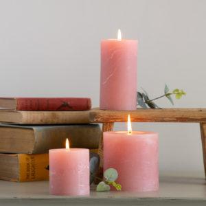 Rustic Pillar Candle Dusky Pink