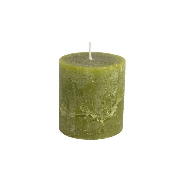 Rustic Pillar Candle Fern Green