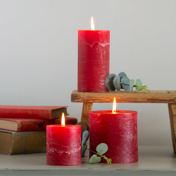 Rustic Pillar Candle Lipstick Red