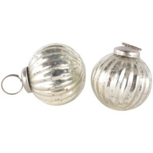 Mini Pumpkin Decoration Antique Silver