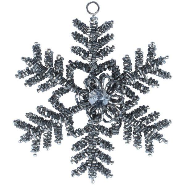 Glass Beaded Snowflake Gunmetal