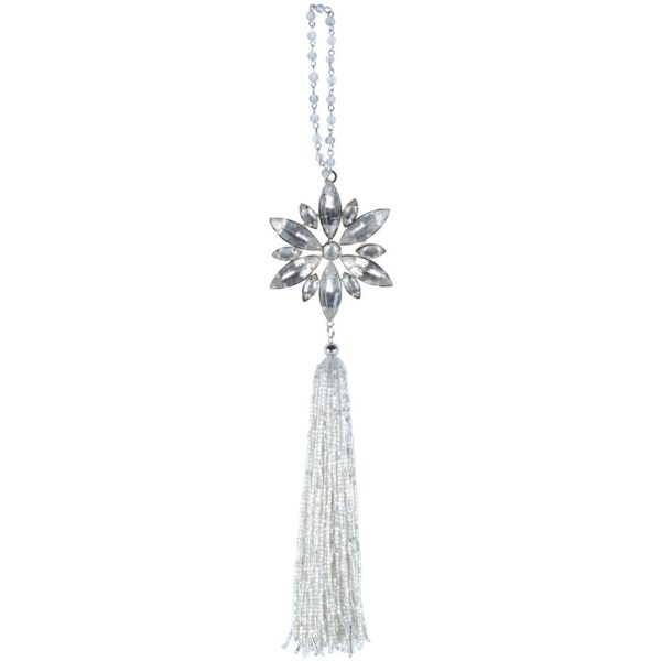 Silver Jewelled Snowflake with Tassel