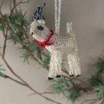 Silver Beaded Reindeer Ornament