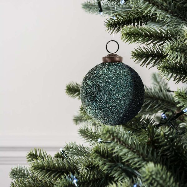Teal Textured Round Decoration