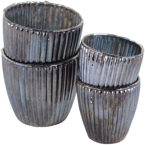 Ribbed Beaker Votive Antique Silver