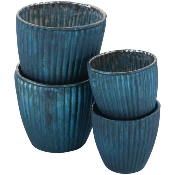 Ribbed Beaker Votive Matte Teal