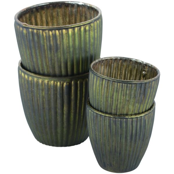 Ribbed Beaker Votive Dark Green