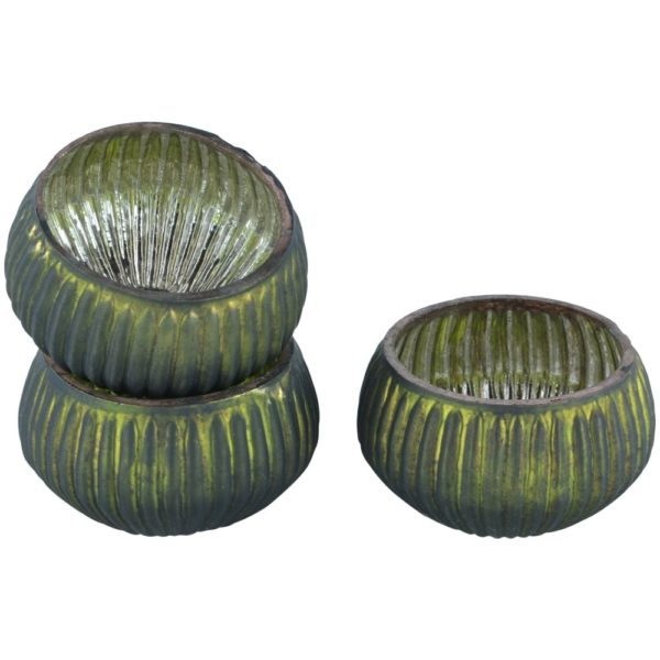 Ribbed Mini T Light Holder Dark Green