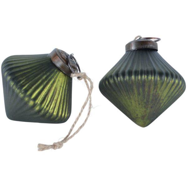 Ribbed Lantern Decoration Matt Dark Green