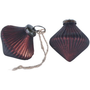 Ribbed Lantern Decoration Matt Dark Red