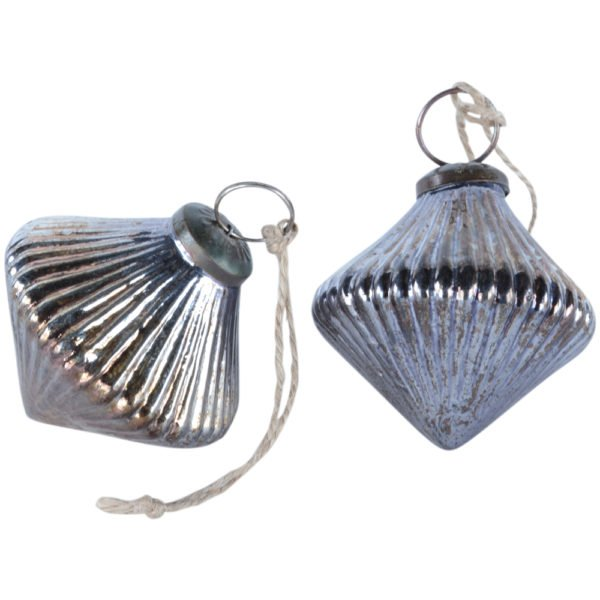 Ribbed Lantern Decoration Antique Silver
