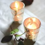 Votive Antique Silver with Etched Flower