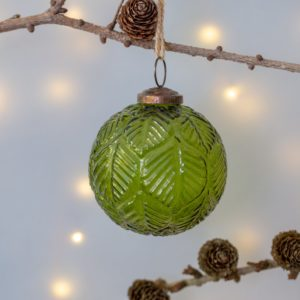Glass Round Christmas Decoration Leaf Design Vintage Green