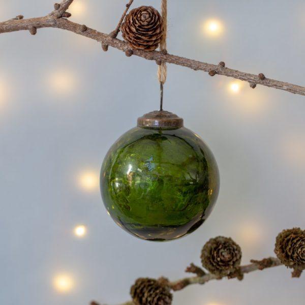 Glass Round Christmas Decoration Vintage Green