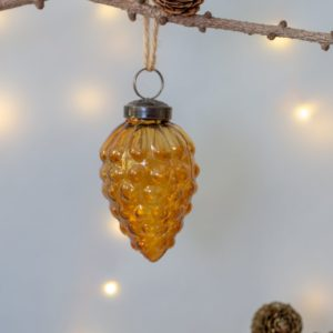 Glass Fir Cone Christmas Decoration Vintage Amber