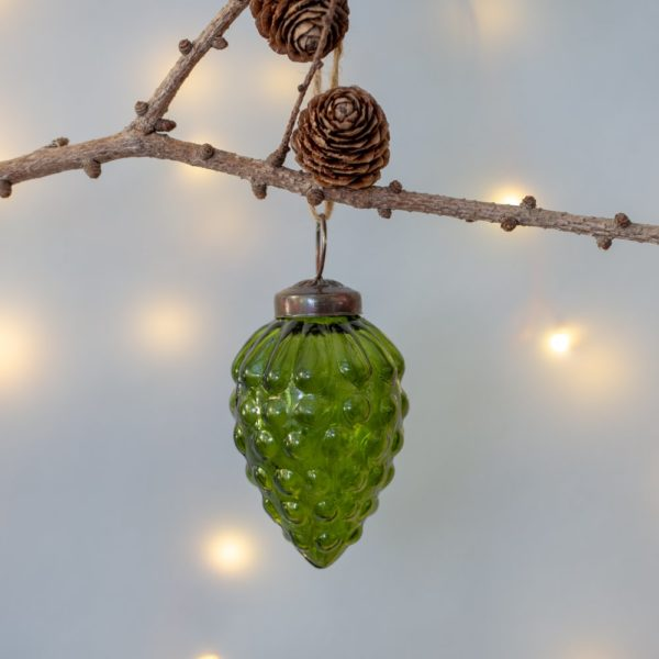 Glass Fir Cone Christmas Decoration Vintage Green