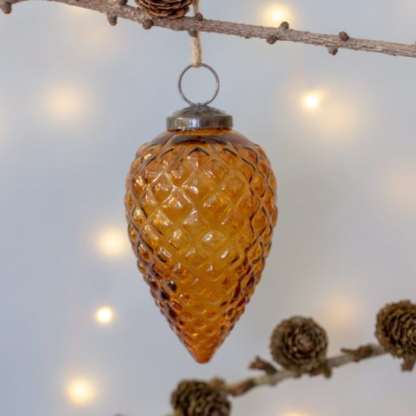 Glass Fir Cone Christmas Decoration Large Vintage Amber