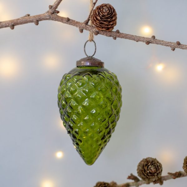 Glass Fir Cone Christmas Decoration Large Vintage Green