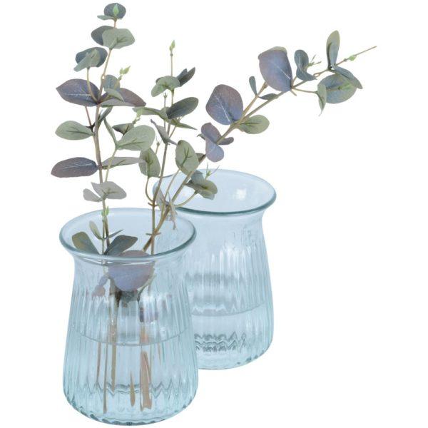 Ribbed Stem Vase in Artisan Glass