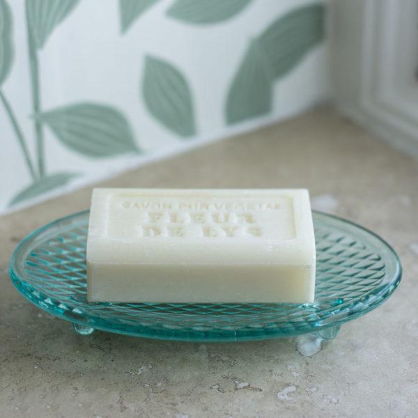 Glass Soap Dish Green