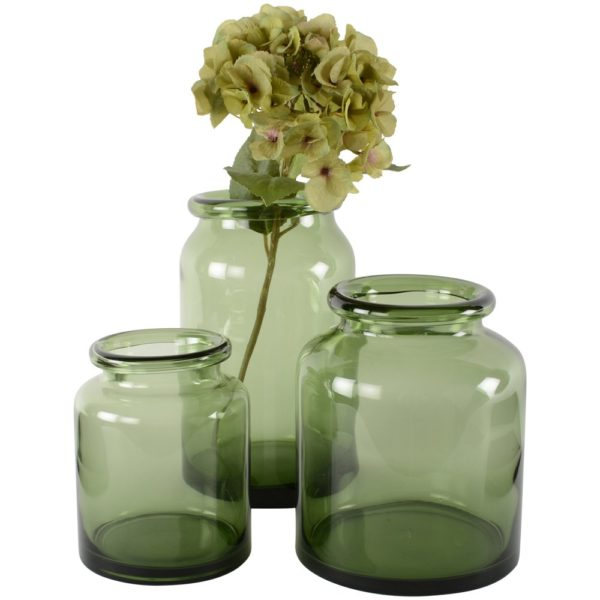 Glass Jar Vase Grey-Green Small 13x15cm