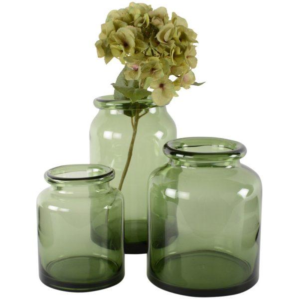 Glass Jar Vase Grey-Green Medium 17x20cm