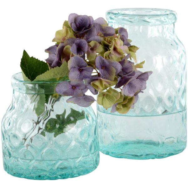 Glass Hammered Vase Green Large