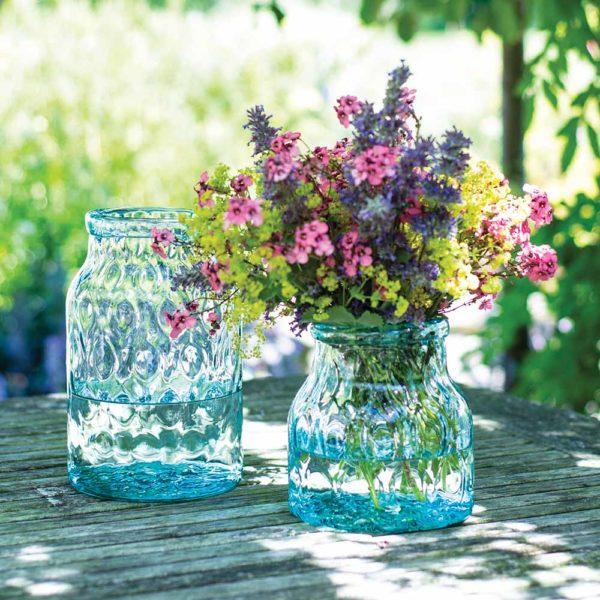 Glass Hammered Vase Green