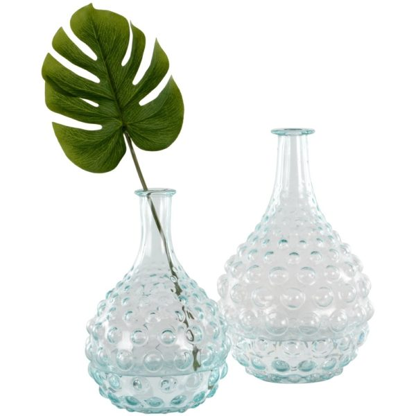 Glass Stem Vase Bubbles Large