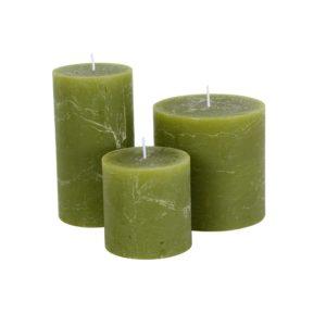 Rustic Pillar Candle Fern Green 70x130mm