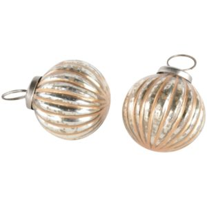 Mini Ribbed Ball Decoration Antique Silver Gold