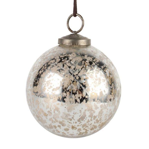 Etched Snowflake Decoration Silver d10cm
