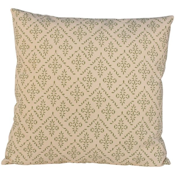 Cushion Lindos Olive with Ecru Piping
