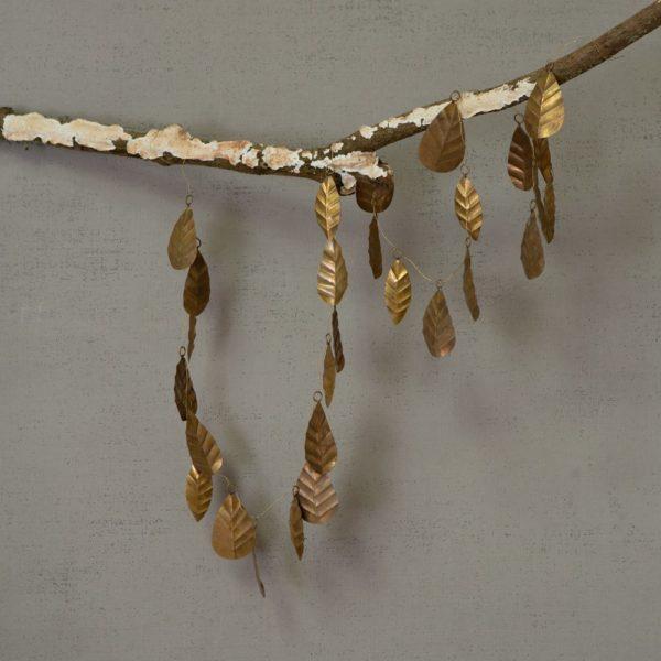 Golden Leaf Garland Christmas Decoration