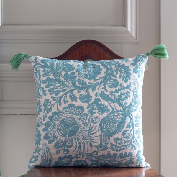 Cushion Tree Of Life Blue with Tassels
