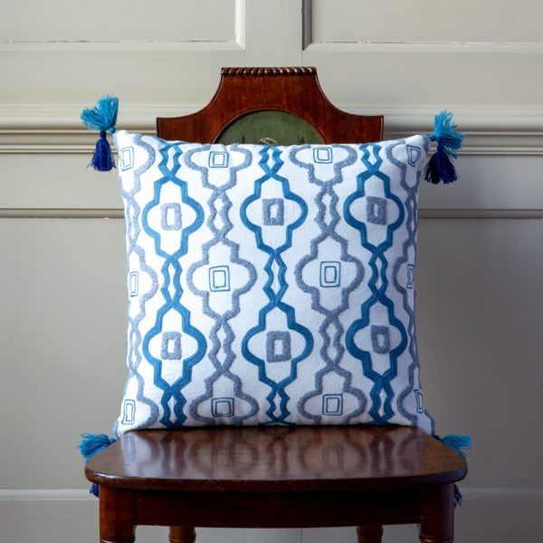 Cushion Temple Garden Blues with Tassels