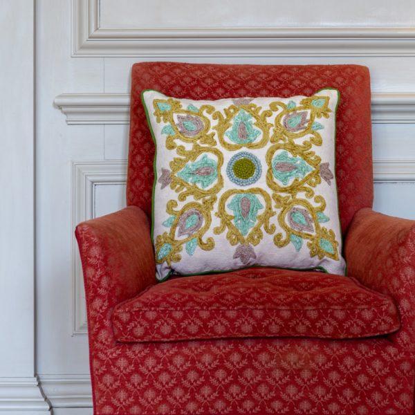 Cushion Jewel Garden Olive Multi