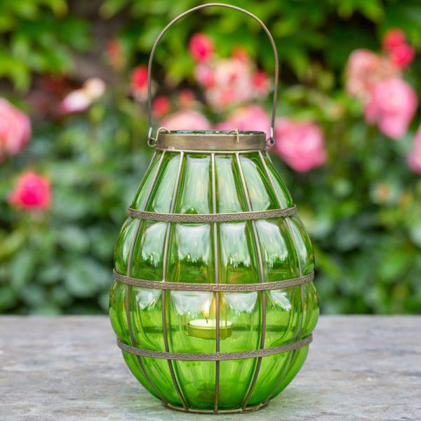 Glass Blown Lantern Emerald