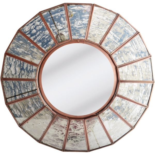 Round Facetted Mirror Rust