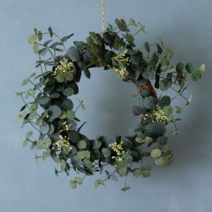 Eucalyptus & White Flower Wreath