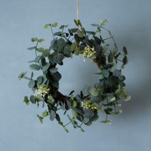 Eucalyptus & White Flower Table Wreath