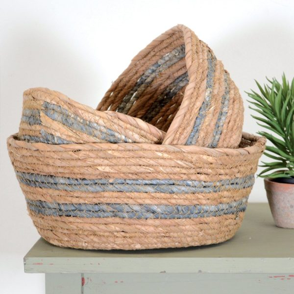 Seagrass Baskets Round Light Charcoal Stripe - Set of 3