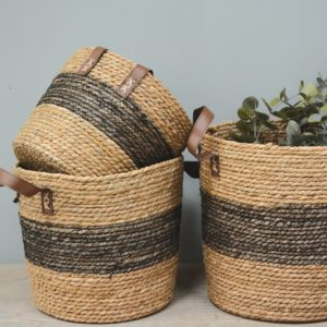 Seagrass Basket Tall with Handle Charcoal Band - Set of 3