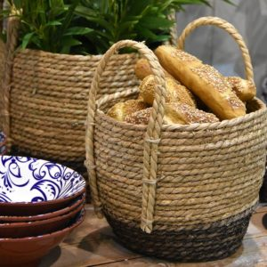 Seagrass Basket Tall with Handle Charcoal Base - Set of 3