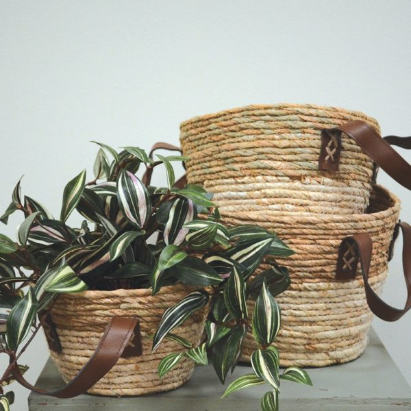Seagrass Baskets Round with Handle Two Tone - Set of 3