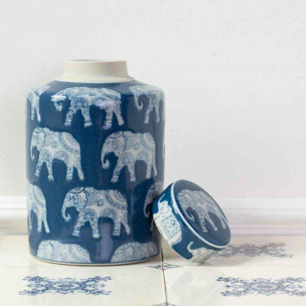 Ginger Jar Indigo L'Elephant