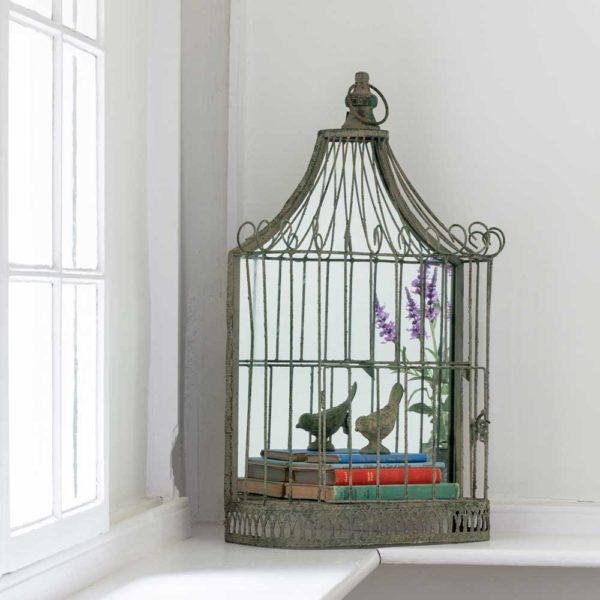 Birdcage With Mirror Antique Green